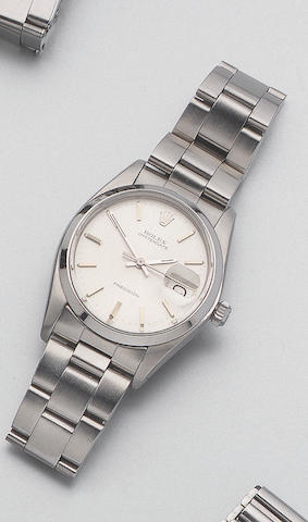 Rolex. A stainless steel centre seconds calender wristwatch Oysterdate. Precision. Ref:6694. Recent 37mm