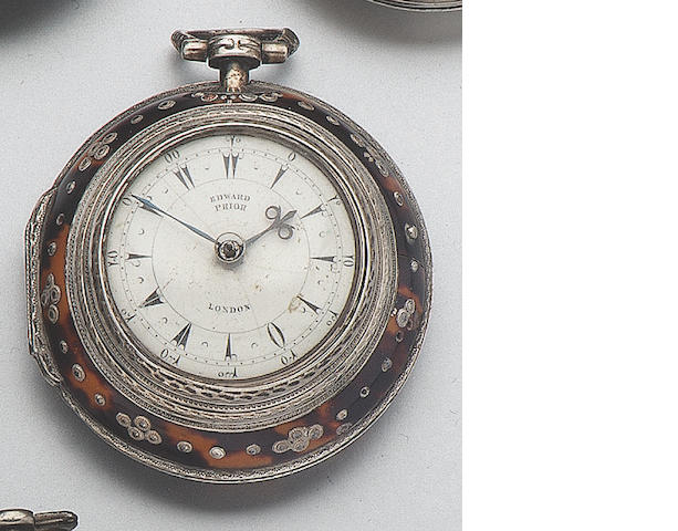A mid 19th century silver and tortoiseshell triple cased verge watch  Edward Prior. London. No.69928