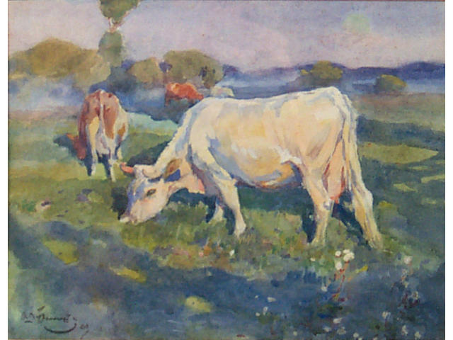 Sir Alfred James Munnings (1878-1959) White cow and others in a landscape 20 x 27cm (8 x 10 1/2in).