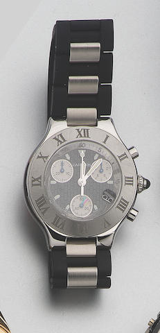 Cartier. A stainless steel chronograph wristwatch Chronoscaph 21, recent 43mm.