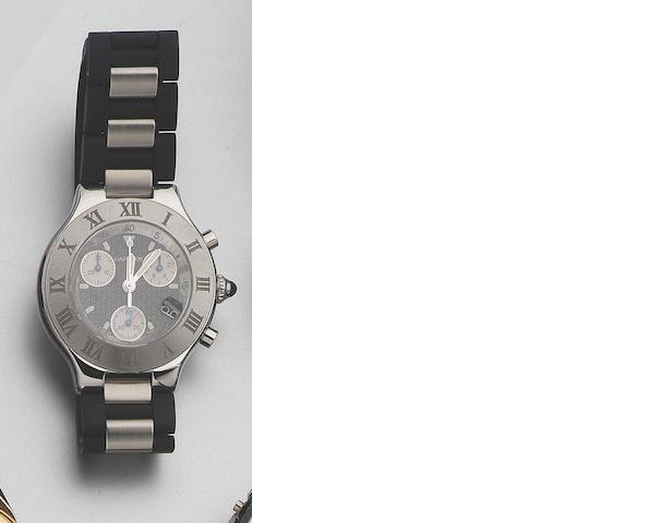 Cartier. A stainless steel chronograph wristwatch Chronoscaph 21, recent 43mm.