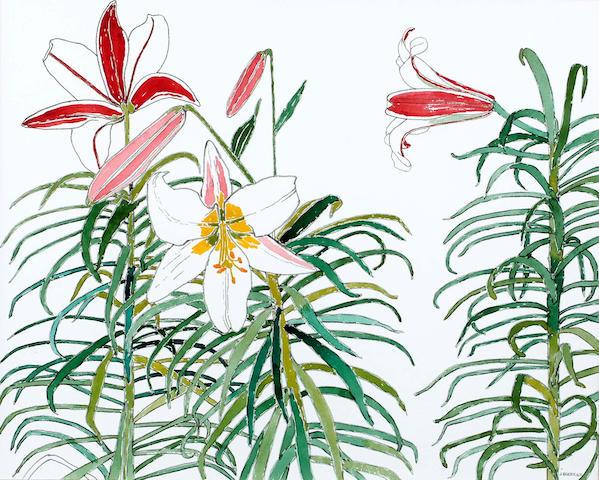 John Bratby (British, 1928-1992) Lilies 40 x 50 cm.