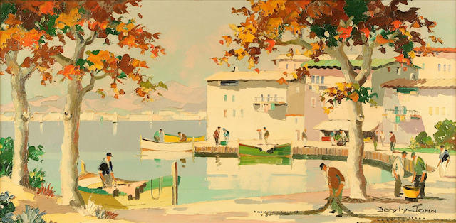 Doyly-John (British, 1906-1993) A View of Cannes Bay from the Summer Casino 35 x 71 cm.