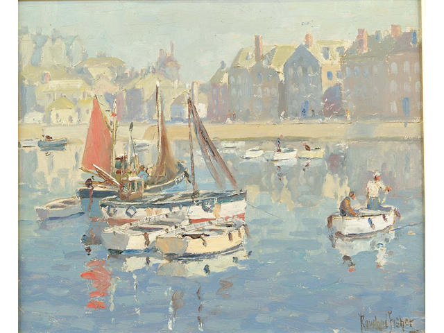 Rowland Fisher (British, 1885-1969)) St. Ives 32 x 38 cm.