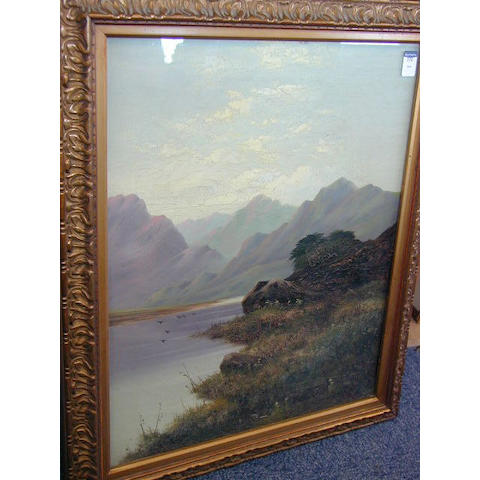 Follower of William Henry Mander Loch in a mountainous landscape 54 x 43.5cm