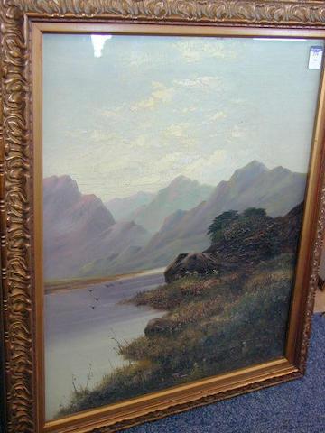 Follower of William Henry Mander Loch in a mountainous landscape 54 x 43.5cm