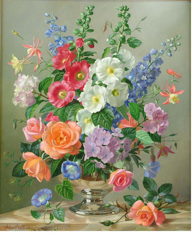 Albert Williams (British, b.1922) Spring and summer flowers in a silver vase 62 x 51 cm.