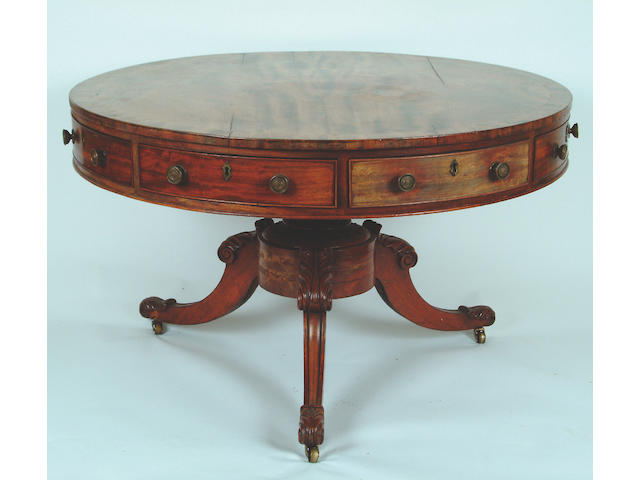 A William IV mahogany drum table,