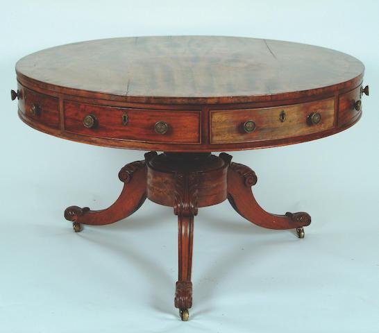 A William IV mahogany drum table,