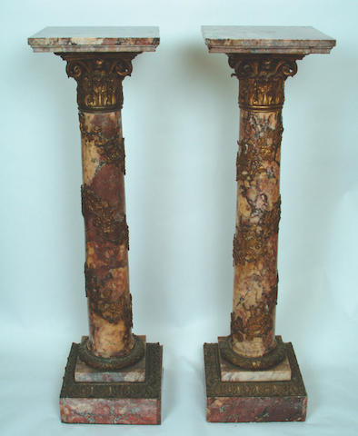 A pair of 19th Century French breche violette pedestals,
