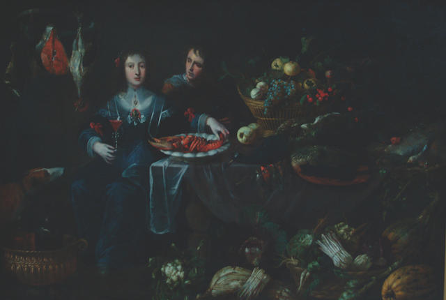 Antwerp School, 17th Century Figures by a banquet table laden with food,