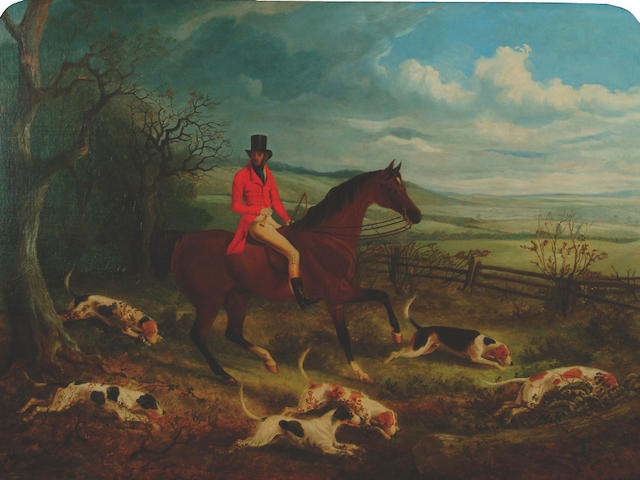 J T Meggeson A gentleman hunting with hounds,