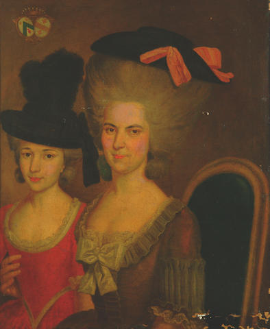 French School, 18th Century Portrait of a mother and daughter with coat of arms,