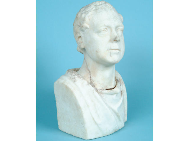 T. Kirk Rollis (?):  a 19th century carved white marble bust,