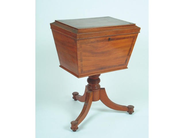 A Regency mahogany and crossbanded cellarette,