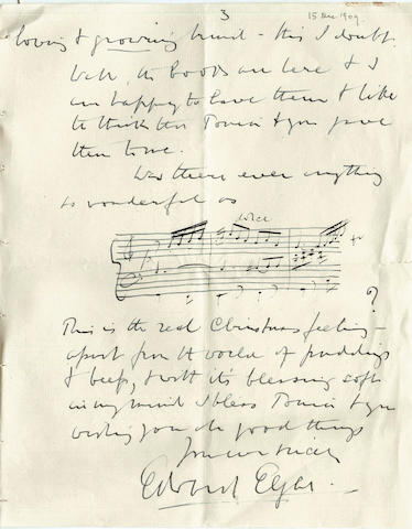 ELGAR (EDWARD)Series of over eighty autograph letters signed, a few typed or on cards, to Edward and Antonia Speyer