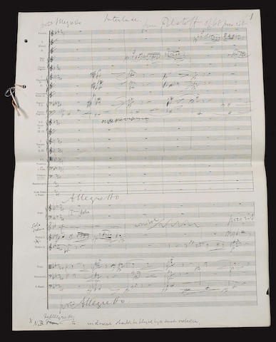 ELGAR (EDWARD) Autograph working full score of the 'Interlude: Gloucestershire, Shallow's Orchard' from his Falstaff