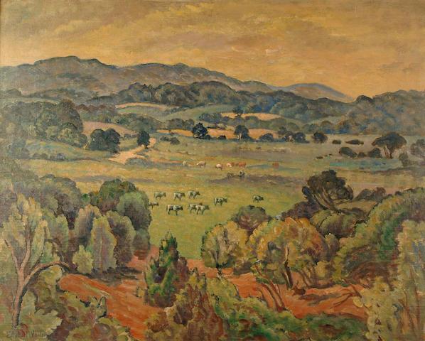 Ethelbert White (British, 1891-1972) Cattle grazing in an extensive summer landscape 81 x 101 cm.