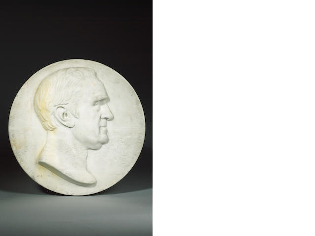 Francis Legatt (sir) Chantrey (British, 1781-1842): A carved white marble memorial portrait Plaque o
