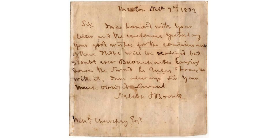 "NELSON (HORATIO) Autograph letter signed (""Nelson & Bronte""), to William Churchey"