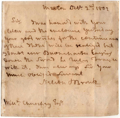 """NELSON (HORATIO) Autograph letter signed (""""Nelson & Bronte""""), to William Churchey"""
