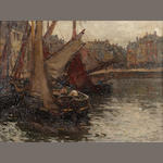Terrick Williams (1860-1936) A continental harbour  26 x 35.5 cm. (10 1/4 x 14 in.)