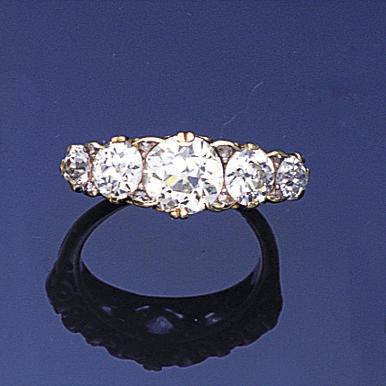 A late Victorian diamond five-stone ring