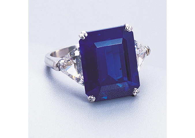 A fine Kashmir sapphire and diamond ring