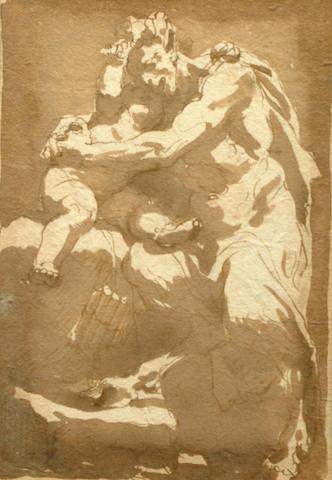 Gaetano Gandolfi, Italian (1734-1802) Pan embracing a putto