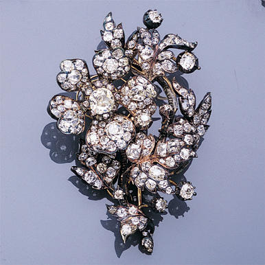 A late Victorian diamond spray brooch,