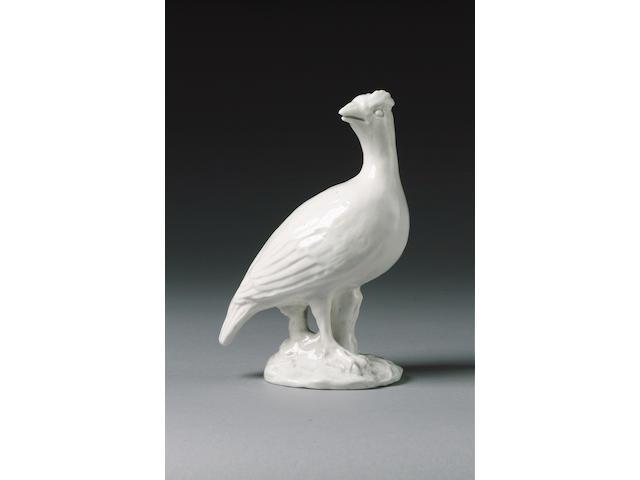 A Rare Chelsea White Model of a Partridge Raised Anchor period, circa 1749-52