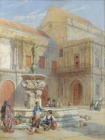 Thomas Macquoid (British, 1820-1912) Figures by a fountain in an Italian piazza 54.5 x 41 cm.