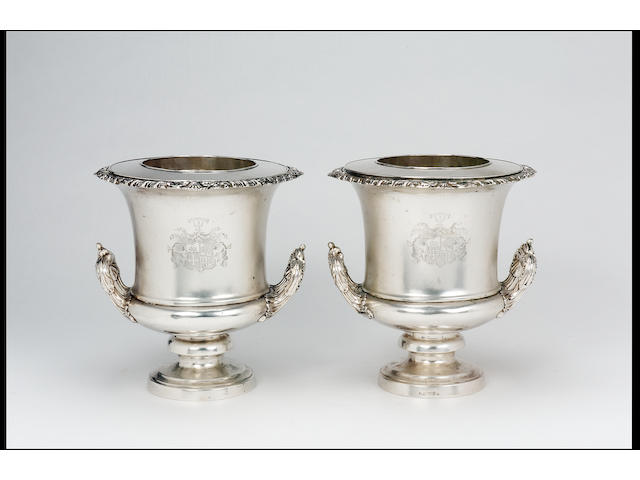 A pair of George IV wine coolers by Matthew Boulton & Co., Birmingham, 1820,