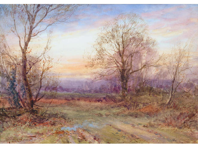Henry John Sylvester Stannard (British, 1870-1951) Woodlands at sunset 24.5 x 35 cm.