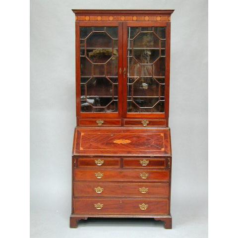 A George III and later inlaid bureau bookcase,