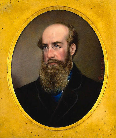 Mrs. F. Dixon, A bearded and bespectacled Gentleman, wearing black coat over white shirt and blue cravat