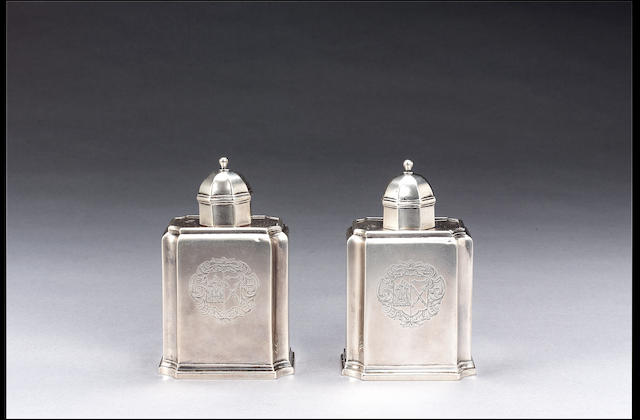 A pair of George I caddies by Edward Gibbon,