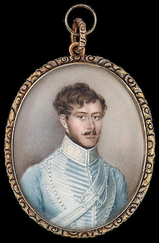 Austrian School, A moustachioed Officer of Hussars, wearing pale blue uniform with silver frogging a