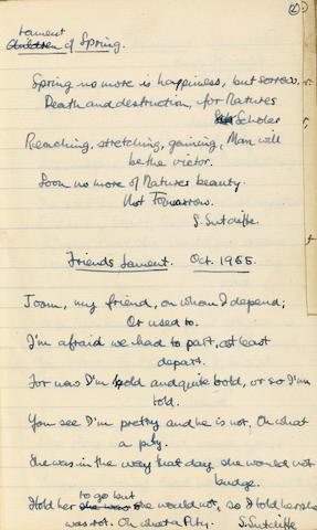 Stuart Sutcliffe's poetry book Prescot Grammar School, dated October 1955 19 x 12 cm.