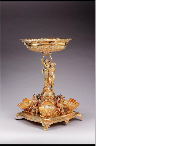 An imposing 20th Century Continental silver-gilt centrepiece, in the 19th Century style,