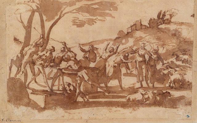 Francesco Allegrini, Italian (1587-1663) Moses and the daughters of Jethro