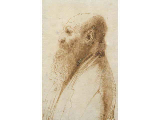 Giovanni Francesco Barbieri, called il Guercino,Italian (1591-1666) Profile portrait of a bearded man facing to the left left