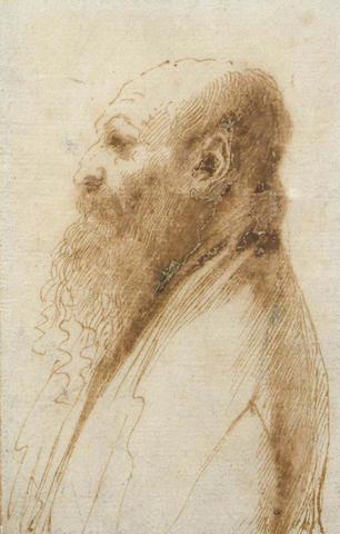 Giovanni Francesco Barbieri, called il Guercino,Italian (1591-1666) Profile portrait of a bearded man facing to the left left
