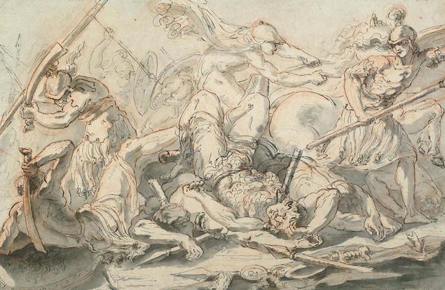 French School, late 17th century Battle Scene