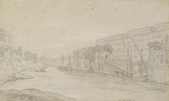 Louis Gabriel Blanchet, French(1705-1772) Ripa Grande, Rome 236x403mm