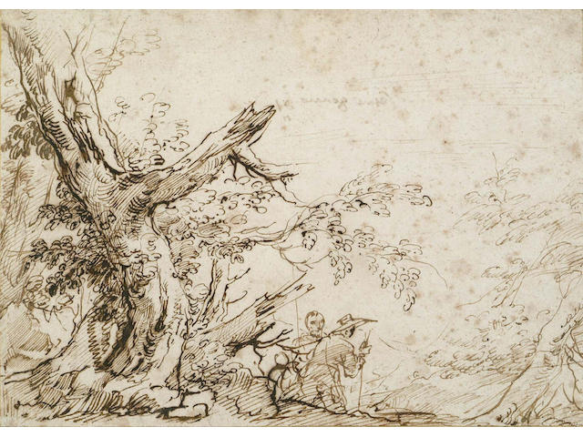 Attributed to Cesare Gennari,Italian(1637-1688) Study of a tree within a landscape with two figures nearby