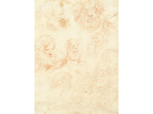 Circle of Simone Cantarini, Italian (1612-1648) Recto: Four studies of the head of a bearded man and two bust-length studies of a child  Verso: Five studies of a bearded male head, one of a child, two of a youth's head and two studies of the Virgin and Child