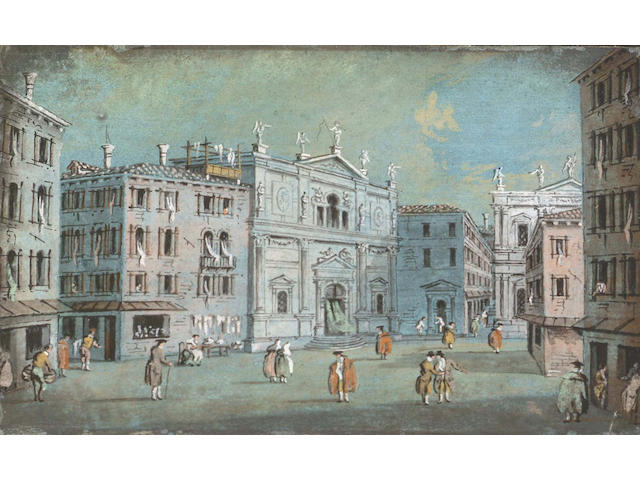 Attributed to Giacomo Guardi, Italian (1764-1835) Figures strolling in a piazzaGouache