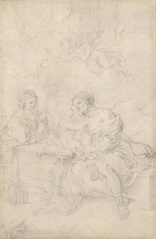 Attributed to Flaminio Torre, Italian St Joseph adoring the Christ Child while the Virgin looks onBlack chalk; laid down 318 x 206mm
