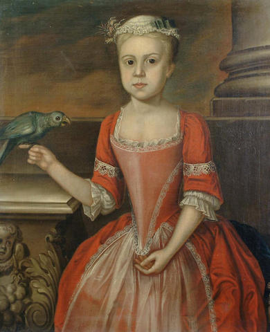 English School, 18th Century Portrait of a young girl, three-quarter-length, in a red dress and with a parrot perched on her hand 76.5 x 63.5 cm.